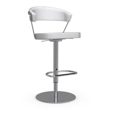 New York Adjustable Height Swivel Bar Stool Upholstery: Leather Black, Frame Finish: Chromed
