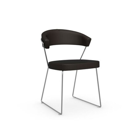 New York Sled Guest Chair Frame Finish: Chromed, Upholstery: Leather - Coffee