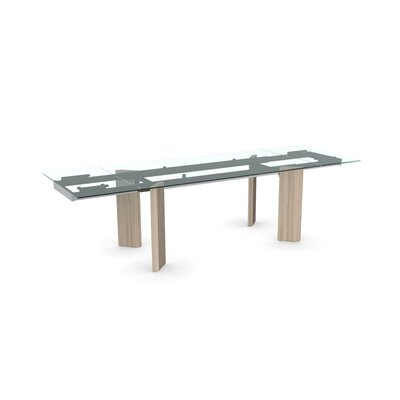 Tower Extendable Dining Table Color: Transparent, Leg Finish: Natural