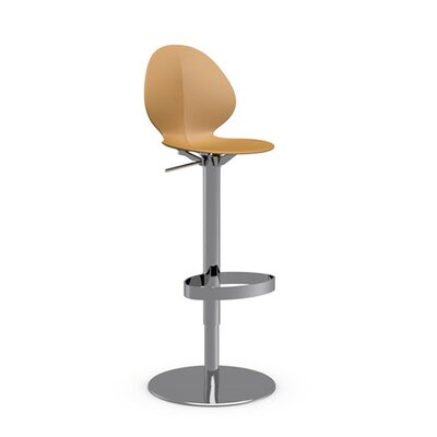 Basil Adjustable Height Swivel Bar Stool Frame Finish: Chromed, Upholstery: Mustard Yellow