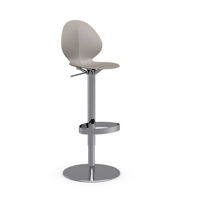 Basil Adjustable Height Swivel Bar Stool Frame Finish: Chromed, Upholstery: Taupe