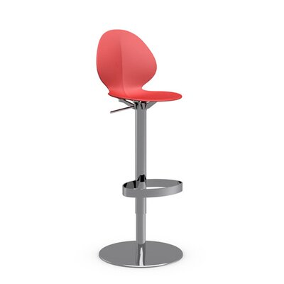 Basil Adjustable Height Swivel Bar Stool Frame Finish: Chromed, Upholstery: Red