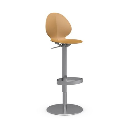 Basil Adjustable Height Swivel Bar Stool Frame Finish: Satin Steel, Upholstery: Mustard Yellow