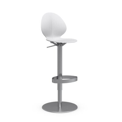 Basil Adjustable Height Swivel Bar Stool Frame Color: Satin Steel, Upholstery: Matte Optic White