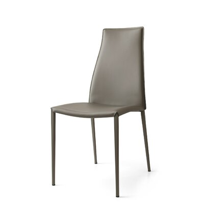 Aida Metal Genuine Leather Upholstered Dining Chair Upholstery: Taupe