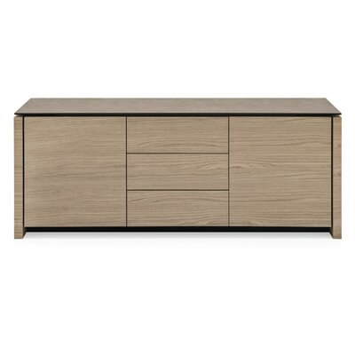 Mag Sideboard Internal Frame Color: White, Top Color: Lead Gray, Base Color: Natural