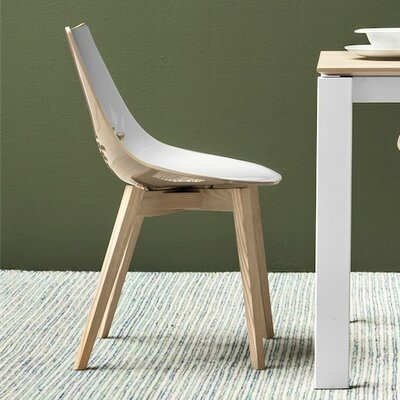 Jam W Side Chairs Seat Color: White/Glossy Taupe, Finish: Graphite