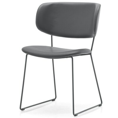 Claire Genuine Leather Upholstered Dining Chair Finish: Gray