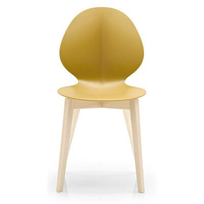 Basil W Chair Finish: Bleached Beech, Seat Color: Matt Mustard Yellow