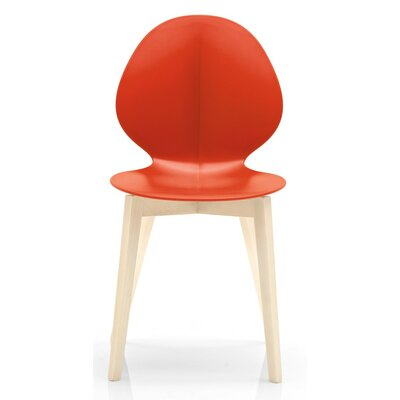 Basil W Chair Finish: Bleached Beech, Seat Color: Matt Optic White