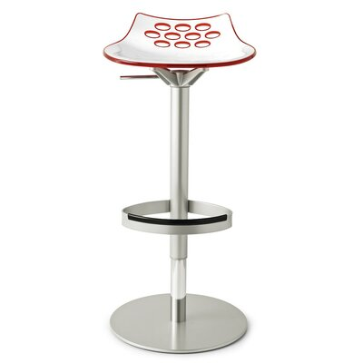 Jam Adjustable Height Swivel Bar Stool Base Finish: Satin Finished Steel, Upholstery: White/Glossy Sky Blue