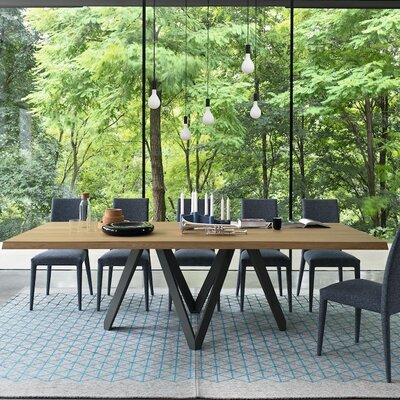 Cartesio Extending and Non Extending Table Top Finish Natural Oak Base Finish Matt Gray