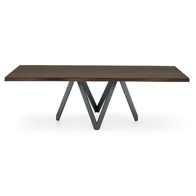 Cartesio Dining Table Top Finish: Dark Oak, Base Finish: Matt Gray