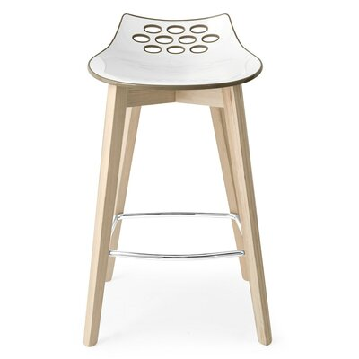 Jam W Bar Stool Upholstery: White/Glossy Sky Blue
