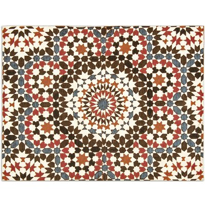Marocco White/Red/Brown/Orange/Blue Area Rug Rug Size: 67 x 99