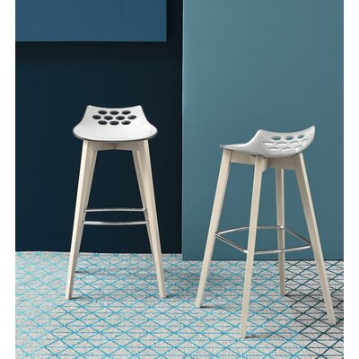Jam W Bar Stool Upholstery: White/Transparent
