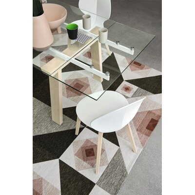 Levante extending and non-extending table Base Finish: Matt Optic White/Bleached Beech