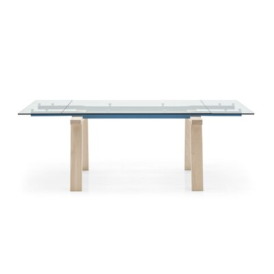 Levante - Extending Table Leg Finish: Bleached Beech, Frame Finish: Matt Sky Blue