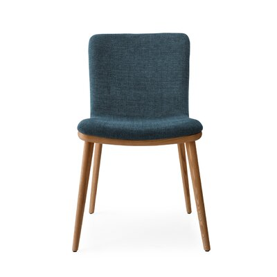 Annie - Upholstered wooden chair Upholstery: Fabric - Aquamarine, Finish: Walnut