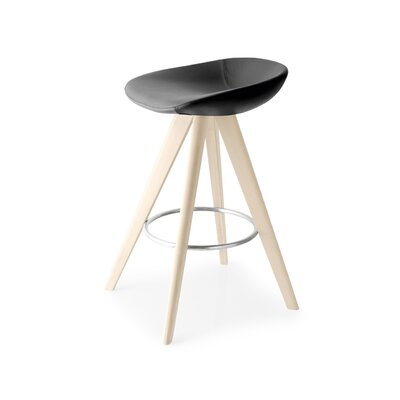 Palm W - Upholstered stool Finish: Bleached Beech, Upholstery: Skuba Optic White