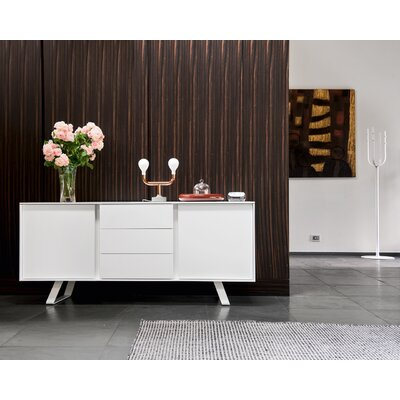 Secret - Sideboard with drawers Finish: Matt Optic White