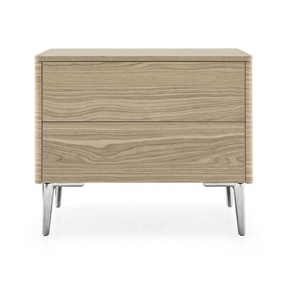 Boston - 2 Drawer Ceramic Top Nightstand Finish: Walnut