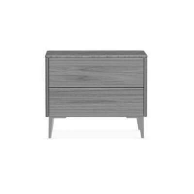 Boston - 2 Drawer Ceramic Top Nightstand Color: Gray