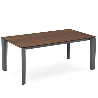 Delta - Extending Table - Wood Top Finish: Smoke, Size: 29.625 H x 94.5 W x 94.5 D