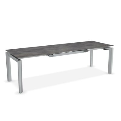 Esteso - Modern extending table Finish: Cement/Satin Steel