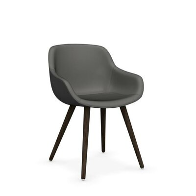 Igloo Genuine Leather Upholstered Dining Chair Leg Color: Smoke, Upholstery Color: Antelope Brown