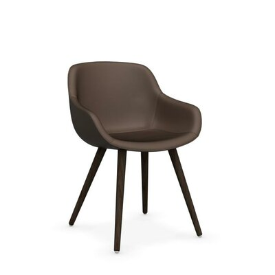 Igloo Genuine Leather Upholstered Dining Chair Upholstery Color: Taupe, Leg Color: Walnut