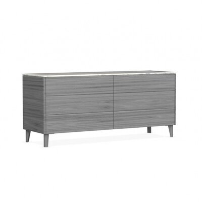 Boston 6 Drawer Double Dresser Color: Gray
