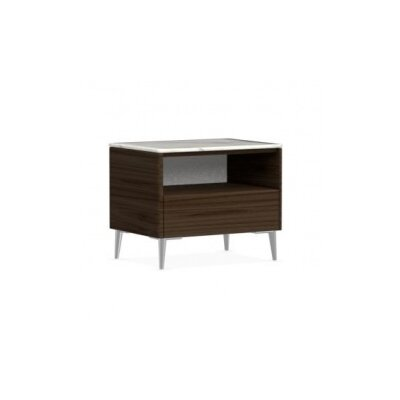 Boston - 1 Drawer Ceramic Top Nightstand Finish: Smoke