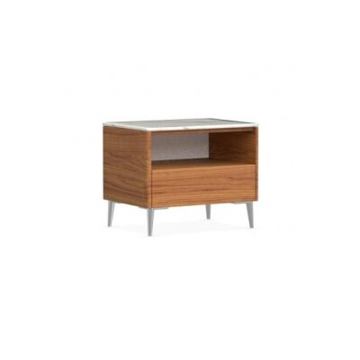 Boston - 1 Drawer Ceramic Top Nightstand Color: Walnut