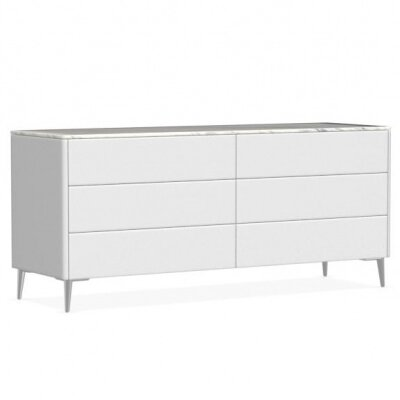 Boston 6 Drawer Double Dresser Color: Matt Optic White