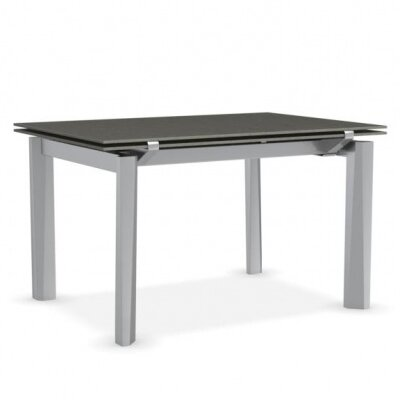 Esteso - Modern extending table Finish: Lead Gray/Satin Steel