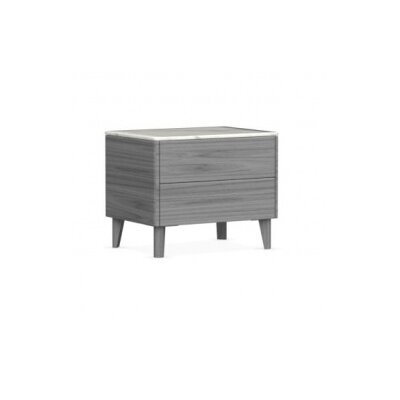 Boston - 2 Drawer Ceramic Top Nightstand Finish: Gray