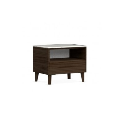 Boston - 1 Drawer Ceramic Top Nightstand Color: Smoke