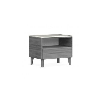 Boston - 1 Drawer Ceramic Top Nightstand Finish: Gray