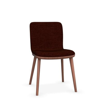 Annie Upholstered Dining Chair Leg Color: Walnut, Upholstery Color: Red