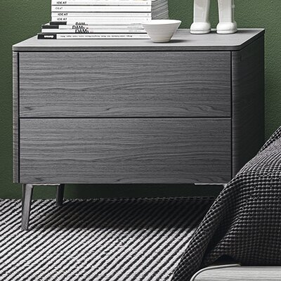 Boston - 2 Drawer Ceramic Top Nightstand Color: Matt Optic White