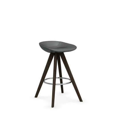 Palm W - Upholstered stool Upholstery: Skuba Gray, Finish: Smoke