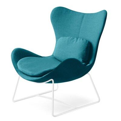 Lazy Metal Arm Chair Upholstery: Berna Aquamarine, Finish: Optic White