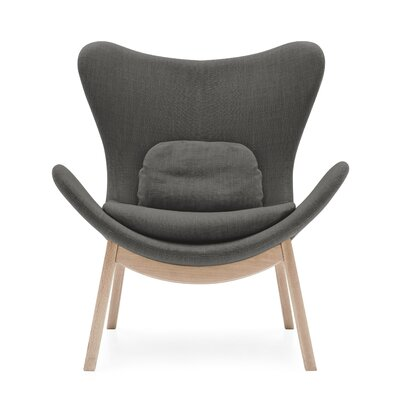Lazy Wood Arm Chair Upholstery: Berna Gray, Finish: Natural