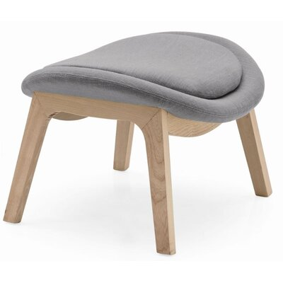 Lazy Wood Arm Chair Ottoman Upholstery: Berna Gray, Finish: Natural