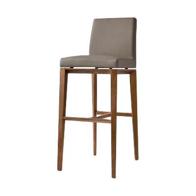 Bess 25.6 Bar Stool Finish: Walnut, Upholstery: Taupe