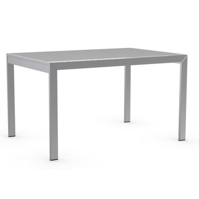 Key Extendable Dining Table Top Finish: Frosted Acid Etched Extra White, Base Finish: Chromed