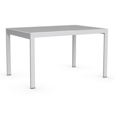 Key Extendable Dining Table Top Finish: Frosted Acid Etched Extra White, Base Finish: Matte Optic White