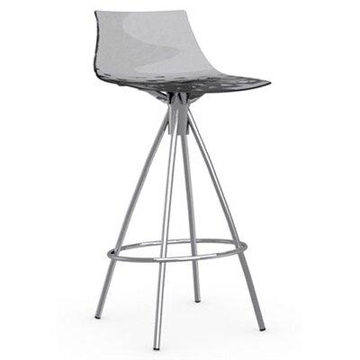 Ice 25.6 Bar Stool Upholstery: Transparent Smoked Grey, Finish: Chromed