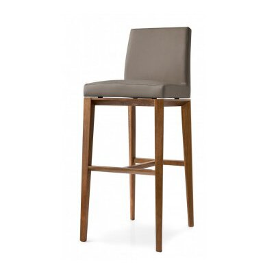 Bess 25.6 Bar Stool Finish: Walnut, Upholstery: Optic White